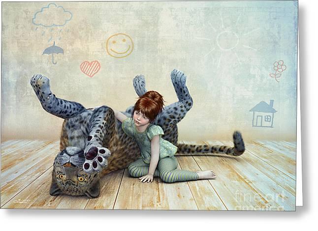 Playmate Greeting Card by Jutta Maria Pusl