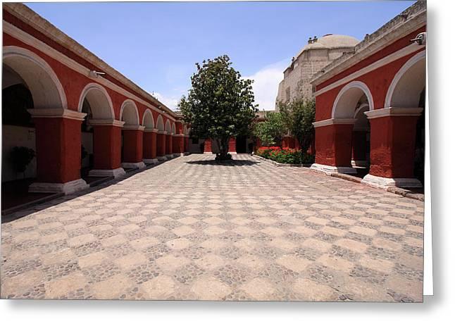 Plaza At Santa Catalina Monastery Greeting Card by Aidan Moran