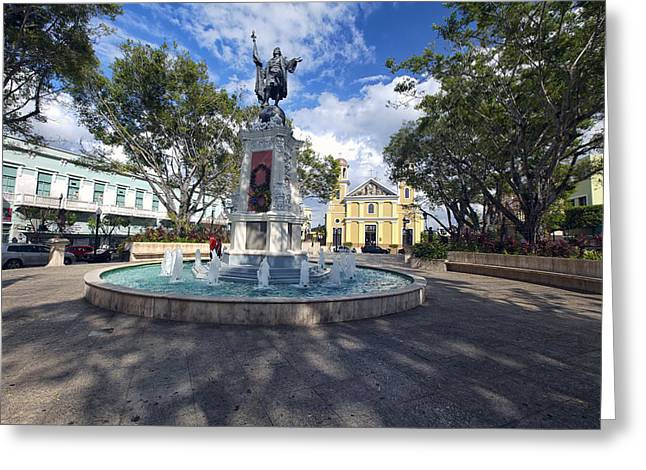 Puerto Rico Greeting Cards - Plaza Colon Mayaguez  Greeting Card by George Oze