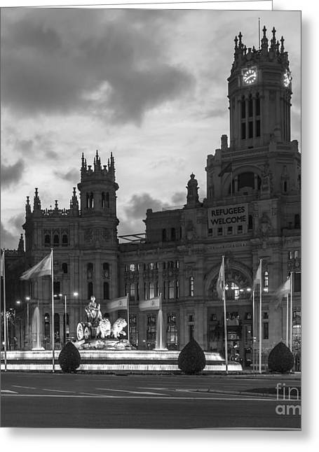 Plaza De Cibeles Fountain Madrid Spain Greeting Card