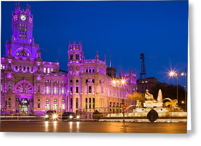 City Hall Greeting Cards - Plaza de Cibeles in Madrid Greeting Card by Artur Bogacki