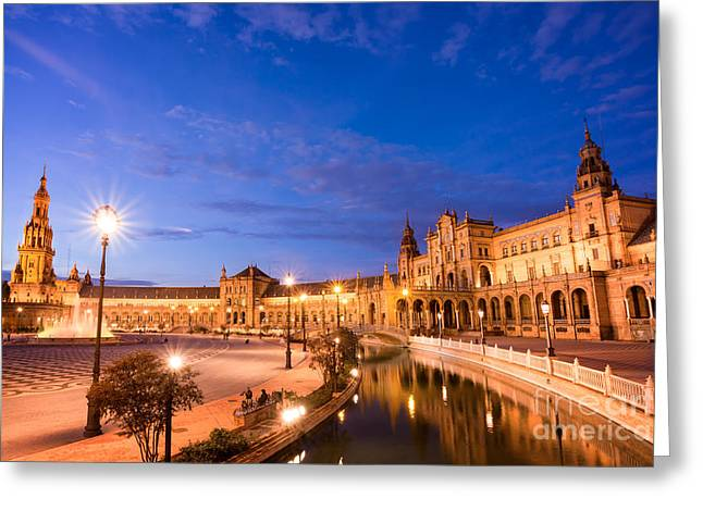 Plaza De Espana At Night Greeting Card by Delphimages Photo Creations