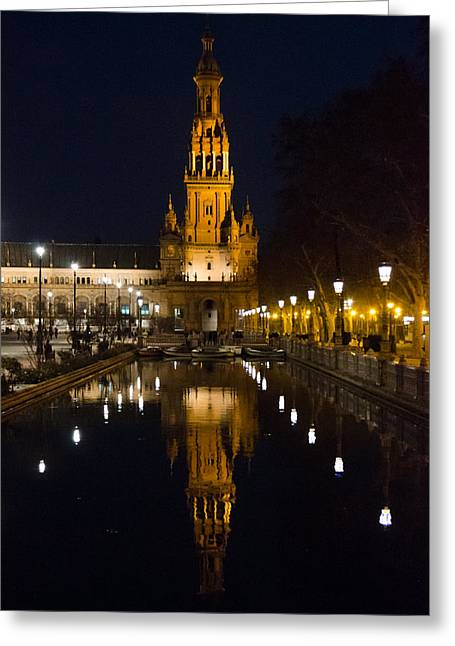 Plaza De Espana At Night - Seville 6 Greeting Card by Andrea Mazzocchetti