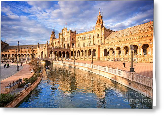 Plaza De Espana Greeting Card by Delphimages Photo Creations