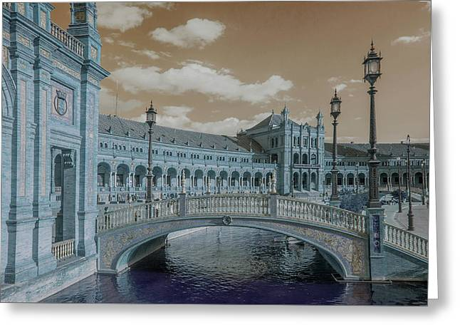 Greeting Card featuring the photograph Plaza De Espana Vintage by Jenny Rainbow