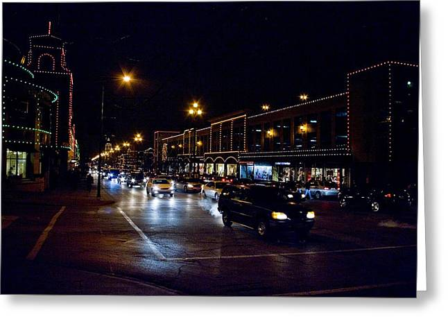 Greeting Card featuring the photograph Plaza Lights by Jim Mathis