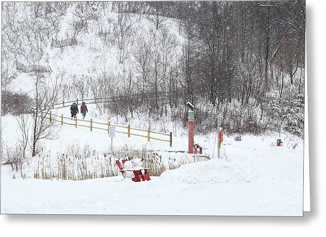 Greeting Card featuring the photograph Pleasant Hike In Snow by Charline Xia