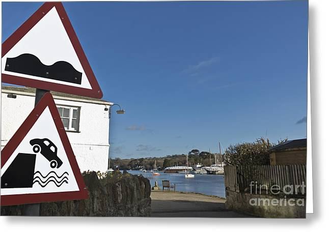 Please Drive Carefully In Mylor Bridge Greeting Card by Terri Waters