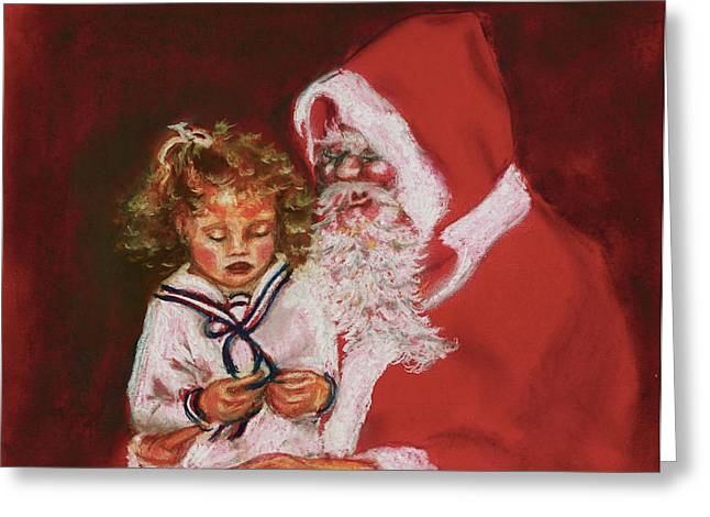 Please Mr Santa Greeting Card by Yvonne Ayoub