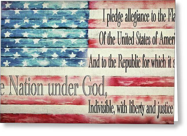 Pledge Of Allegiance American Flag Greeting Card