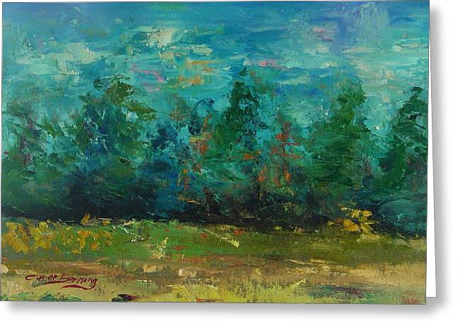 Greeting Card featuring the painting Plein Air With Palette Knives by Carol Berning
