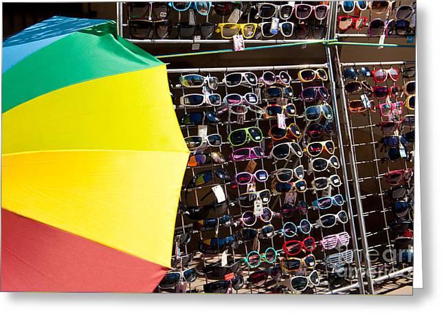 Plenty Of Sunglasses Under Sunshade Greeting Card by Arletta Cwalina