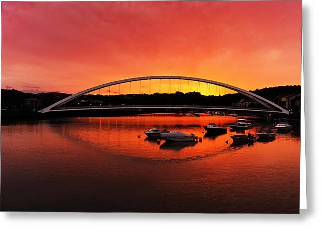 Plentzia Bridge At Sunset Greeting Card by Mikel Martinez de Osaba