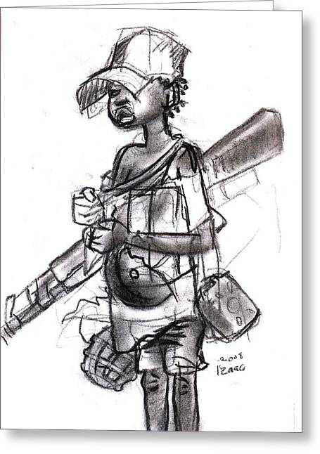 Plight Of A Child Soldier Greeting Card by Okwir Isaac