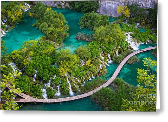 Plitvice Boardwalk Greeting Card by Inge Johnsson