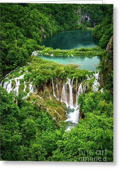 Plitvice Lakes National Park - A Heavenly Crystal Clear Waterfall Vista, Croatia Greeting Card