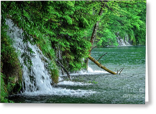 Plitvice Lakes National Park, Croatia - The Intersection Of Upper And Lower Lakes Greeting Card