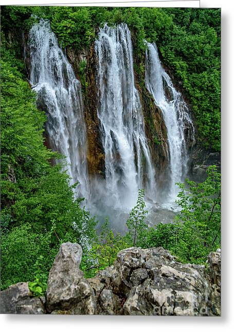 Plitvice Lakes Waterfall - A Balkan Wonder In Croatia Greeting Card