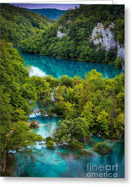 Plitvice Twilight Greeting Card by Inge Johnsson