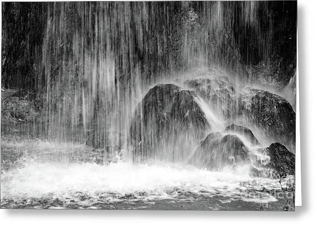 Plitvice Waterfall Black And White Closeup - Plitivice Lakes National Park, Croatia Greeting Card