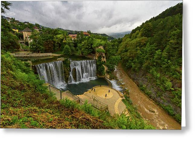 Pliva Waterfall, Jajce, Bosnia And Herzegovina Greeting Card