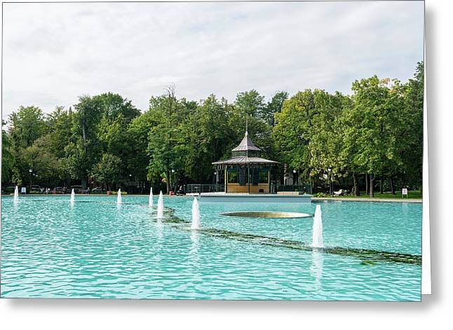 Plovdiv Singing Fountains - Bright Aquamarine Water Dancing Jets And Music Greeting Card by Georgia Mizuleva