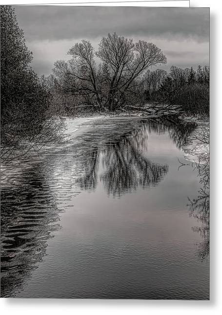 Plover River Black And White Winter Reflections Greeting Card