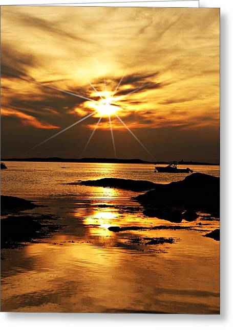 Plum Cove Beach Sunset E Greeting Card