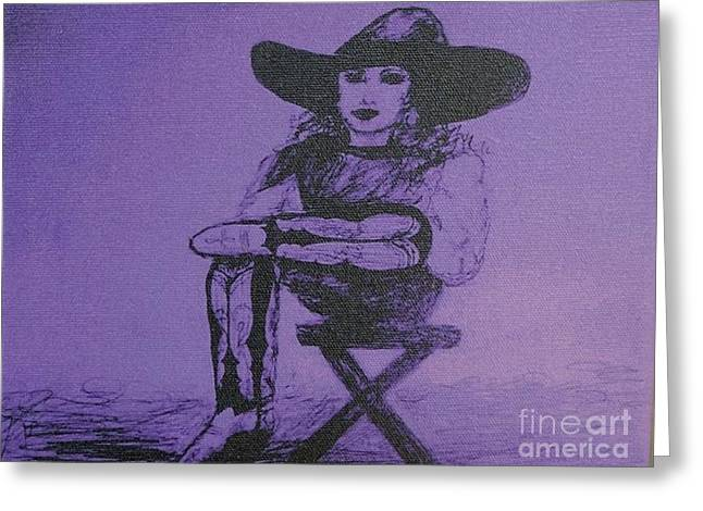 Plum Cowgirl Greeting Card by Susan Gahr