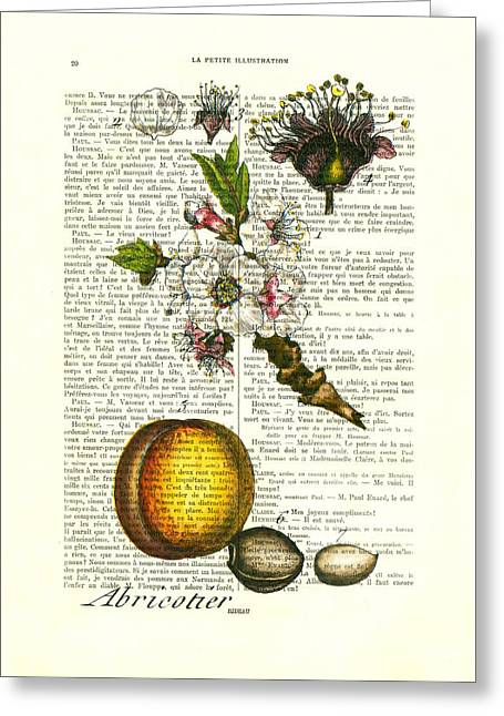 Plum Fruit And Blossom Plant Antique Illustration Greeting Card by Madame Memento