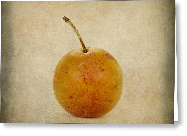 Plum Greeting Cards - Plum vintage look Greeting Card by Bernard Jaubert