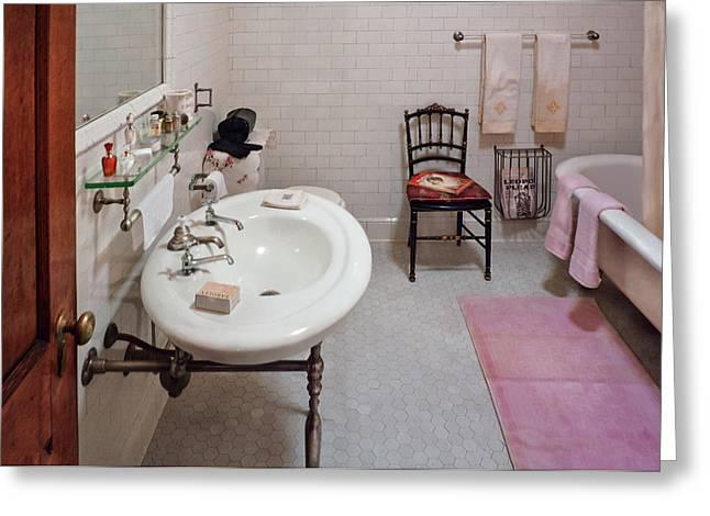 Plumber - The Bathroom  Greeting Card by Mike Savad