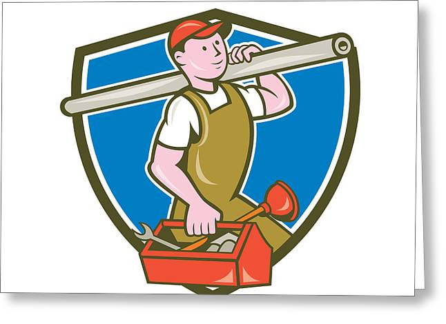 Plumber Carrying Pipe Toolbox Crest Cartoon Greeting Card