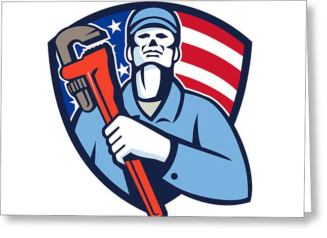 Plumber Holding Wrench Usa Flag Shield Retro Greeting Card by Aloysius Patrimonio