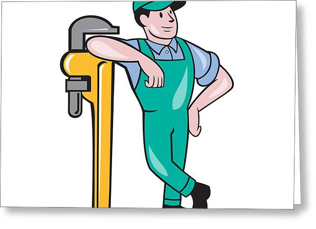 Plumber Leaning Monkey Wrench Isolated Cartoon Greeting Card