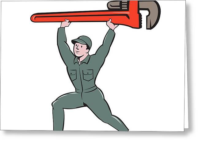 Plumber Lifting Monkey Wrench Cartoon Greeting Card