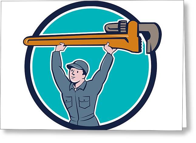 Plumber Lifting Monkey Wrench Circle Cartoon Greeting Card