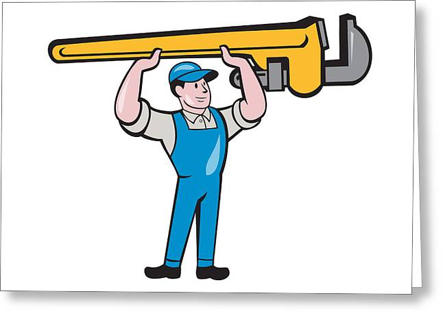 Plumber Lifting Monkey Wrench Isolated Cartoon Greeting Card