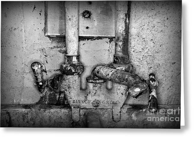 Plumbing Hot And Cold Water In Black And White Greeting Card by Paul Ward