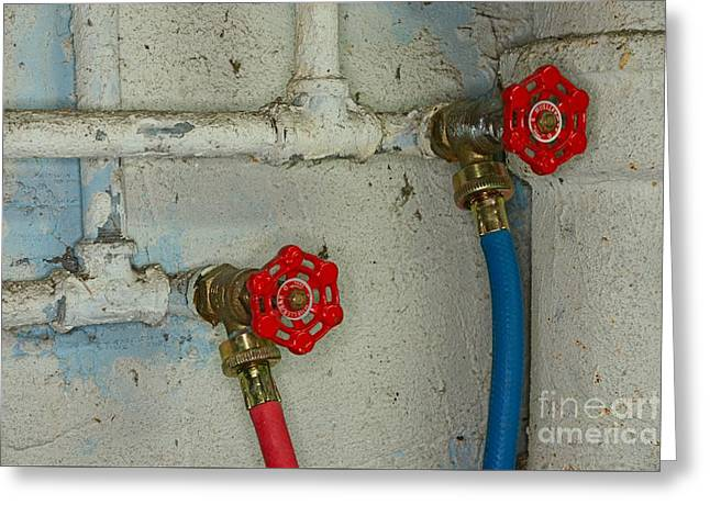 Plumbing Hot And Cold Water Greeting Card by Paul Ward