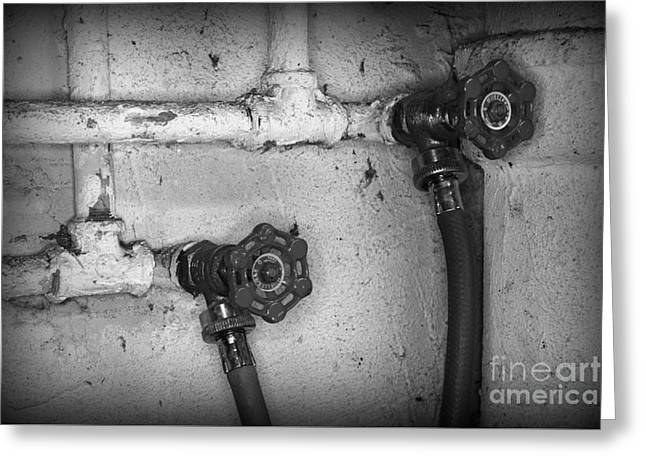 Plumbing Old Handles In Black And White Greeting Card by Paul Ward