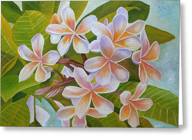 Greeting Card featuring the painting Plumeria by Angeles M Pomata