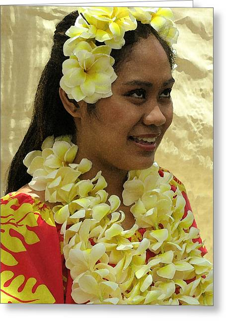 Plumeria Dancer Greeting Card by James Temple