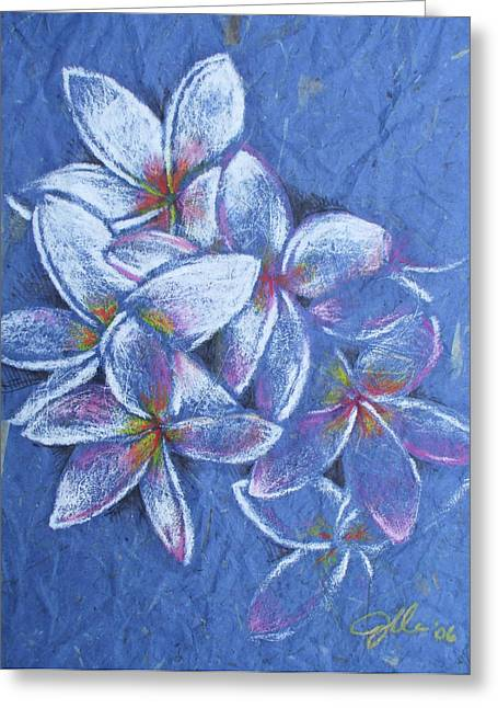 Plumeria Greeting Card by Jennifer Bonset