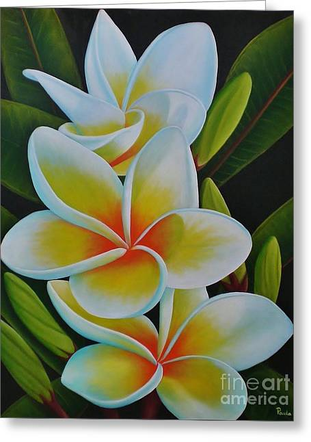 Plumeria Greeting Card by Paula Ludovino