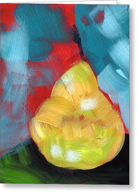 Plump Pear- Art By Linda Woods Greeting Card by Linda Woods