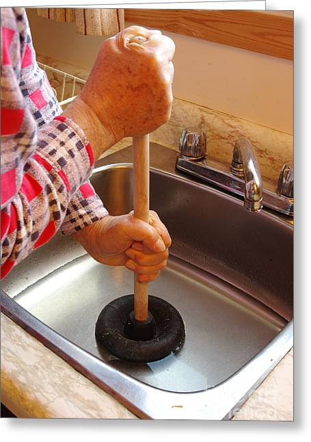 Plunging A Drain Greeting Card by Scimat