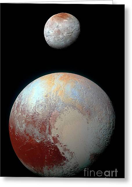 Greeting Card featuring the photograph Pluto And Charon by Nicholas Burningham