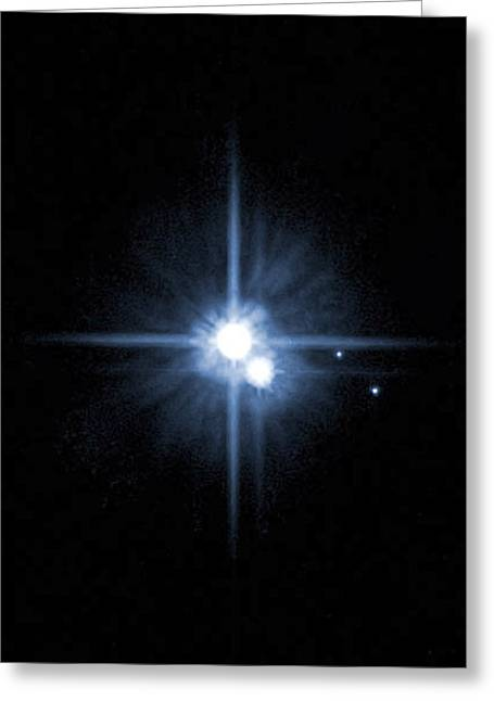 Pluto And Its Moons Charon, Hydra Greeting Card by Stocktrek Images