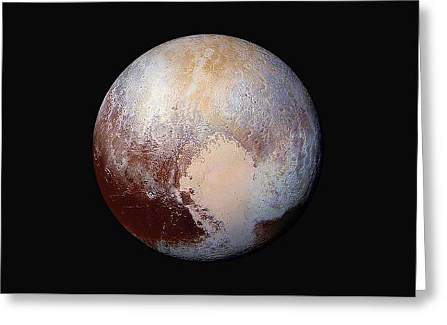 Pluto Dazzles In False Color Greeting Card by Nasa